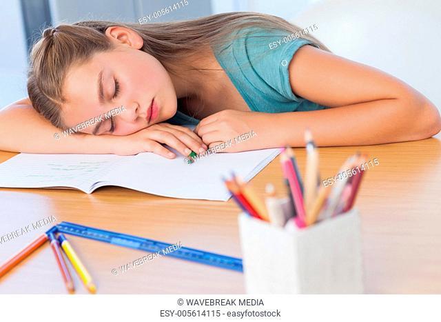 Tired girl sleeping