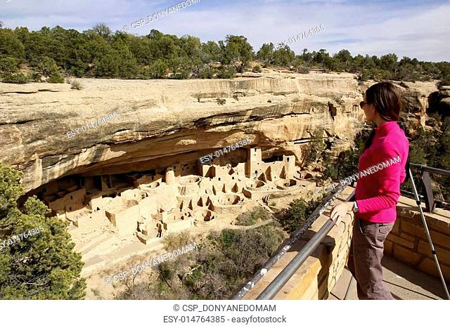 Tourist looking at Cliff Palace, Mesa Verde National Park, Color