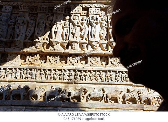 Sculptures at Jagdish temple  Udaipur  Rajasthan  India