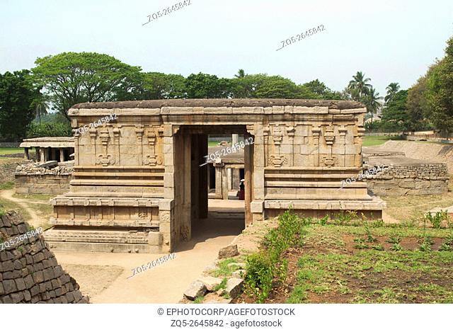 Entrance to the underground Shiva Temple, Hampi, Karnataka, India