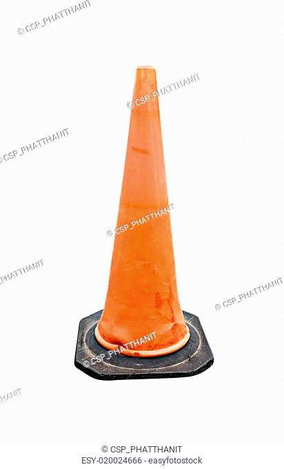 Old Traffic cone - barricade warning cones on white background
