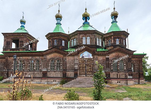 Karakol, Kyrgyzstan - August 15, 2019: Orthodox church of the Holy Trinity in Karakol