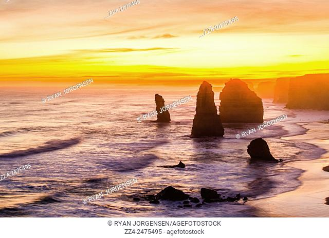 Dusk view at the coastal location of The Twelve Apostles by The Great Ocean Rd, Australia. Victoria Tourist Attraction