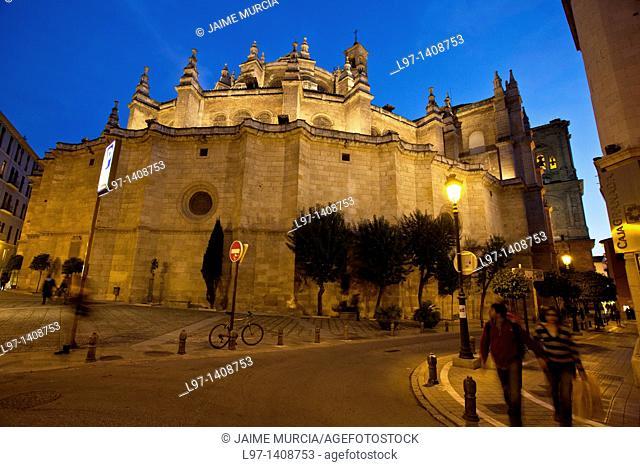 Night time street scene beside Granada cathedral