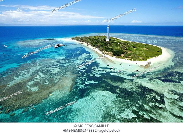 France, New Caledonia, Southern Province, off Noumea, nature reserve island Amedee Lighthouse (1865), Lagoon classified as a UNESCO World Heritage (aerial view)