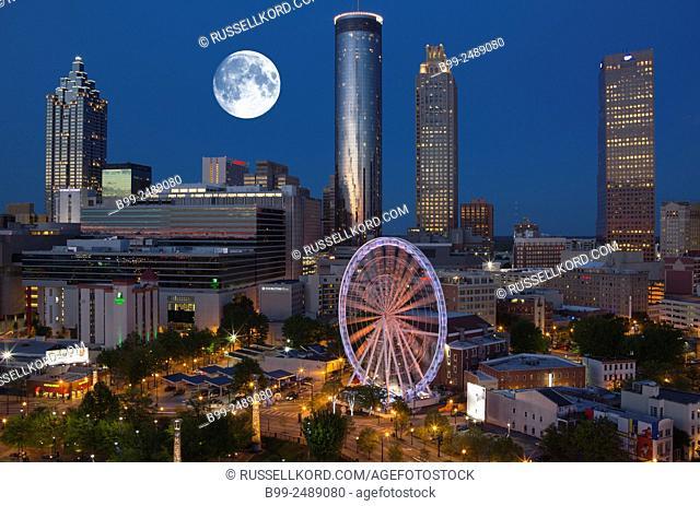 Skyview Ferris Wheel Centennial Olympic Park Downtown Skyline Atlanta Georgia Usa