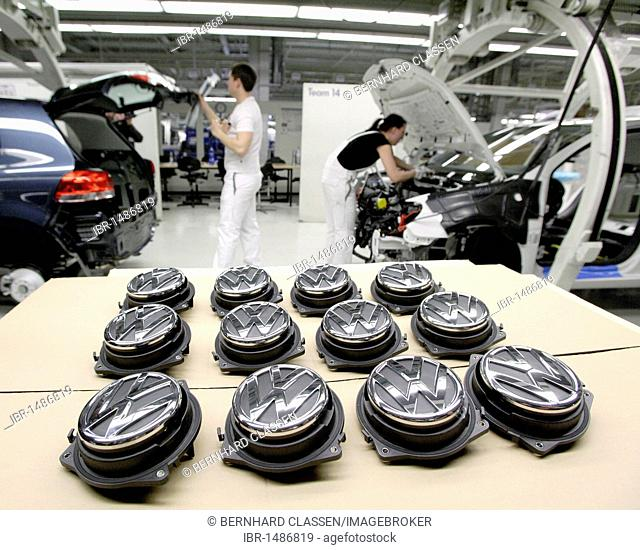 Volkswagen AG, car production at the Wolfsburg plant, final assembly of the VW Tiguan, sport utility vehicle, taken during an official Volkswagen photo workshop