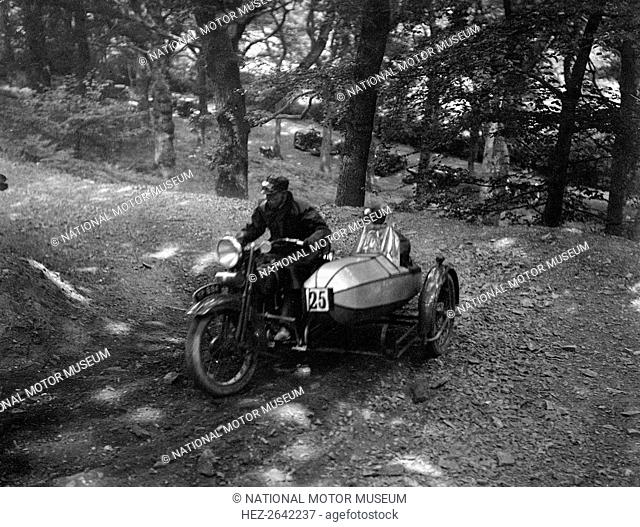 Harley-Davidson and sidecar, B&HMC Brighton-Beer Trial, Fingle Bridge Hill, Devon, 1934. Artist: Bill Brunell