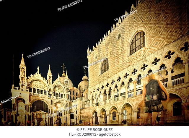 Basilica of St Mark left and Doges Palace right by night, Venice, Italy