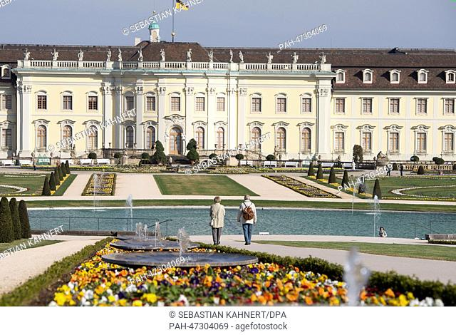 Pansies and daffodils blossom in the blooming baroque in front of the castle in Ludwigsburg, Germany, 21 March 2014. The so-called Blooming Baroque