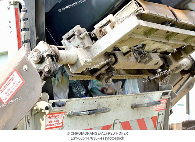 Garbage collection collects household waste and rubbish bins emptied