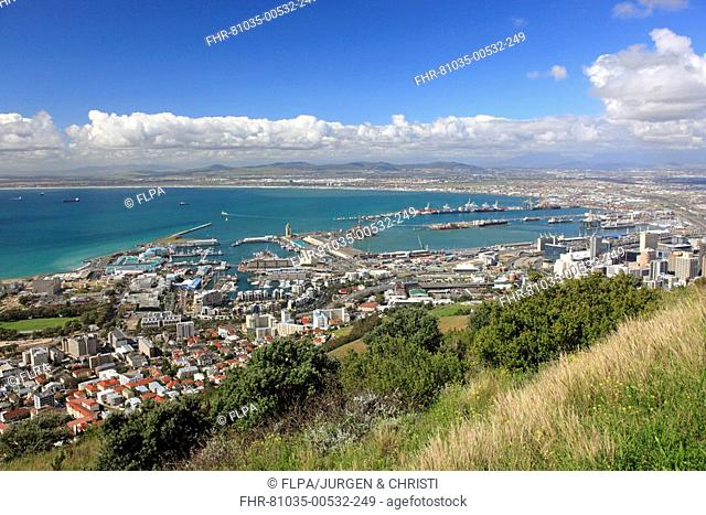 View of coastal city coastline and commercial harbour, Cape Town, Western Cape, South Africa
