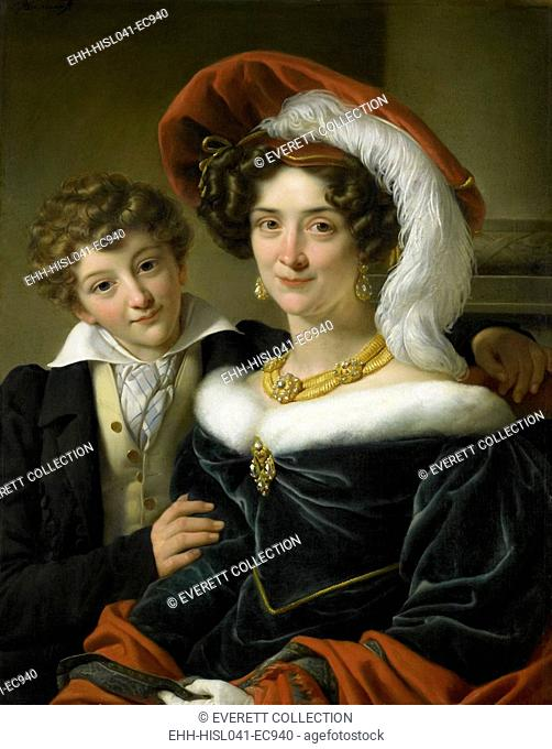 Portrait of Rudolphina Wilhelmina Elizabeth de Sturler, by Cornelis Kruseman, 1829, Dutch painting, oil on canvas. The second wife of Count Johannes van den...