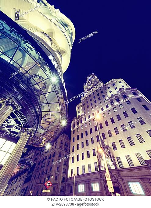 Telefonica building and Gran Via street at night. Madrid, Spain