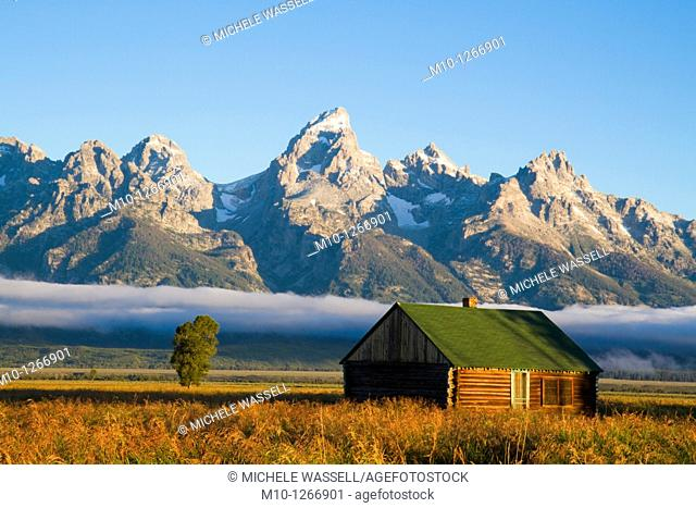 Grand Tetons with an old barn at sunrise