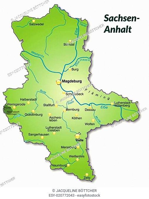 Karte von Sachsen-Anhalt als Übersichtskarte in Grün