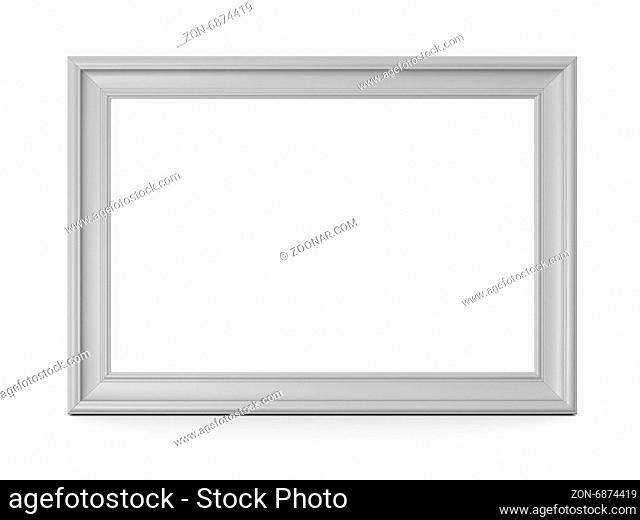 Blank horizontal wooden photo frame, isolated on white background