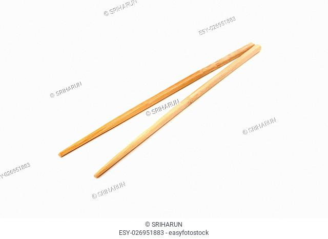 bamboo chopsticks isolated on white background
