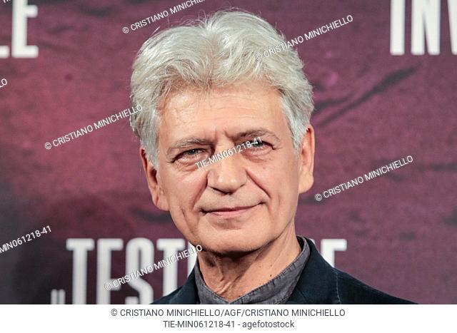 The actor Fabrizio Bentivoglio during the photocall of film Il testimone invisibile, Rome, ITALY-06-12-2018
