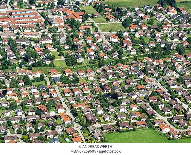 Aerial view on housing area,single-family homes, Fuessen, Füssen, Bavaria, Germany