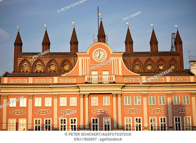 facade of the town hall, Rostock, Mecklenburg-Vorpommern, Germany