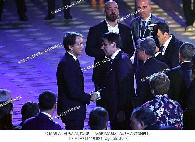 Italy's head coach Roberto Mancini, Italian Prime Minister Giuseppe Conte during the charity show ' Una serata di stelle' for the Hospital Bambino Gesu'