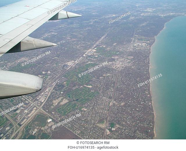 Chicago, Il, Illinois, Lake Michigan, Aerial view of Highland Park on Lake Michigan from an airplane