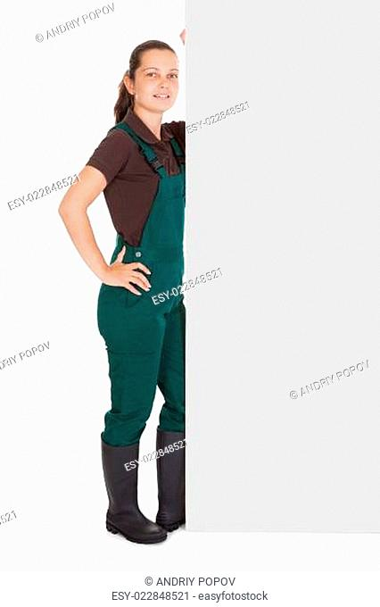Happy Woman Holding Blank Placard
