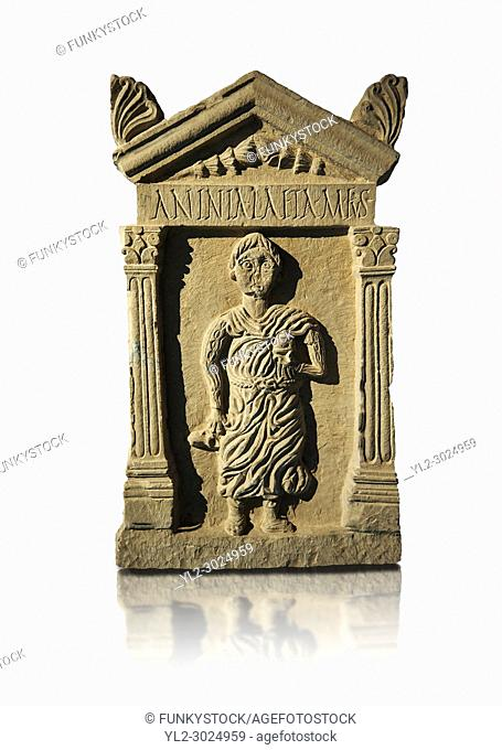 Second century Roman funerary stele dedicated to Anninia Laeta from the cemetery of Thuburbo Majus a city of the Roman province of Africa Proconsularis