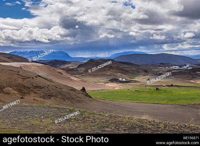 Aerial view from Namafjall mountain near Reykjahlid town in Iceland