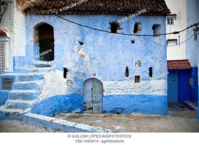 Street in the blue walled old medina of Chefchaouen, Morocco
