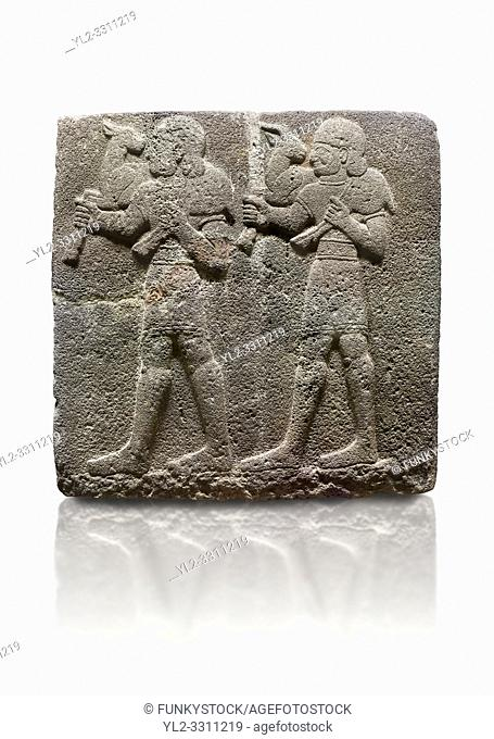 Hittite monumental relief sculpted orthostat stone panel of a Procession Basalt, Karkamıs, (Kargamıs), Carchemish (Karkemish), 900-700 B. C