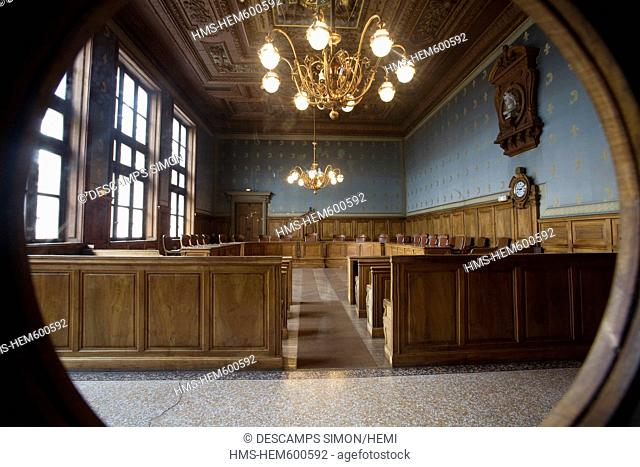 France, Isere, Grenoble, the former courtroom inside the 15th century old Dauphine Parliament, it was the Courthouse of the town until 2002