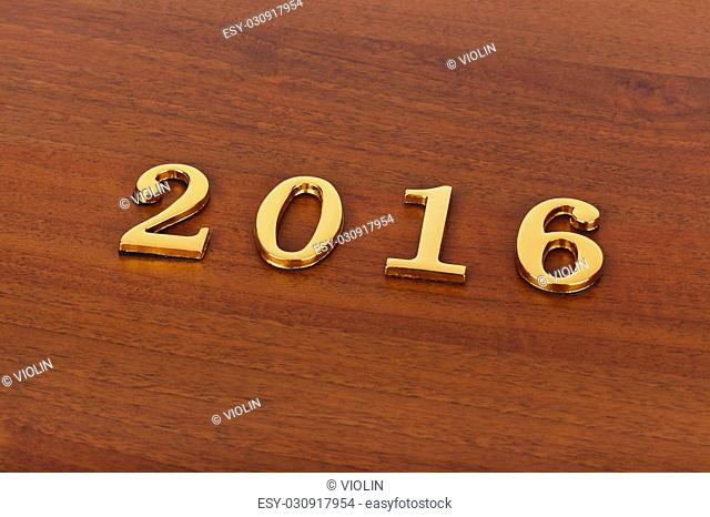 Numbers 2016 on door - new year concept background