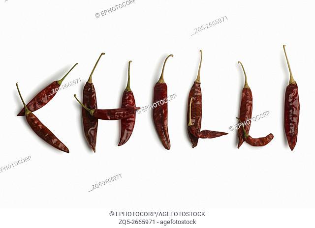 Red chilies on white background, Studio shot, Pune, Maharashtra, India