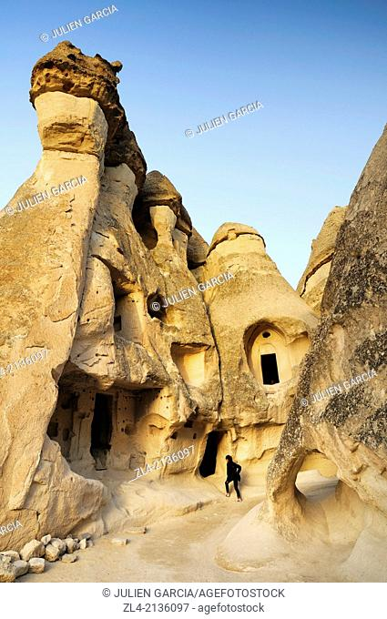 Cave church in the fairy chimneys in Pasabagi, the Monks Valley. Turkey, Central Anatolia, Nevsehir Province, Cappadocia, Goreme national park