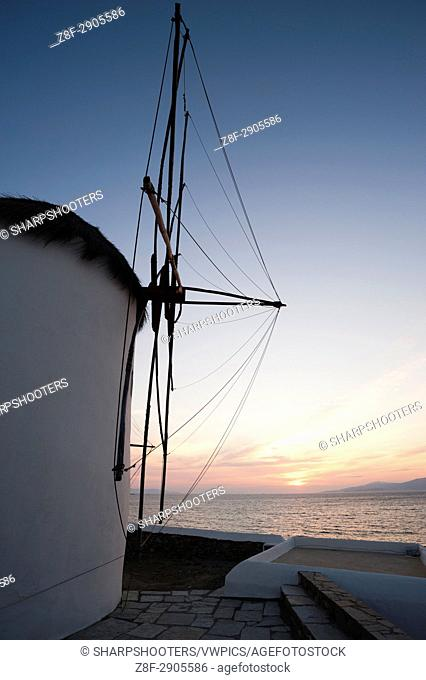 Windmills at sunset, Mykonos Town, Chora, Mykonos, Cyclades, Greece