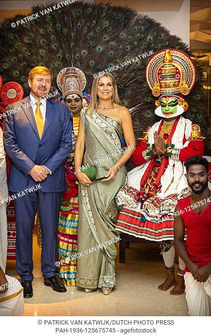 King Willem-Alexander and Queen Maxima of The Netherlands during an diner with Chief Minister of the State Kerala at Restaurant The Rice Boat in Taj Malabar