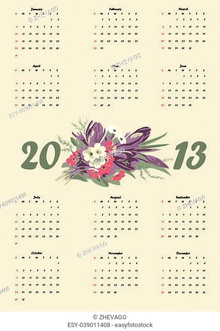 original calendar of 2013 on a white background