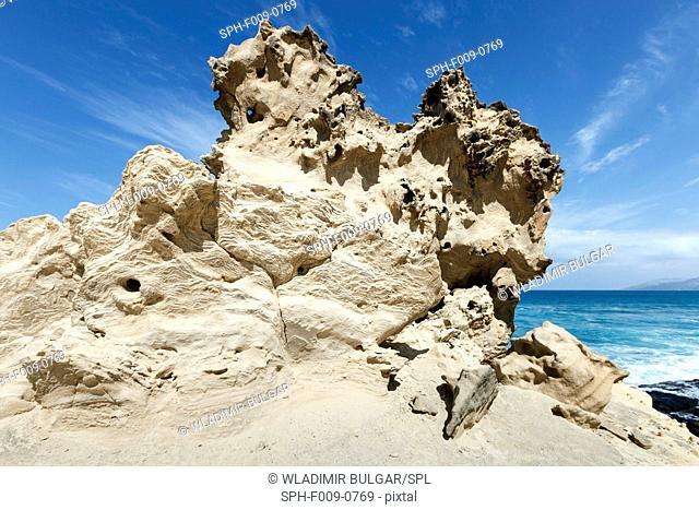 Sandstone rocks showing signs of erosion, Timna Valley, Eilat, Israel