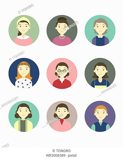 Icon set of portraits of various people