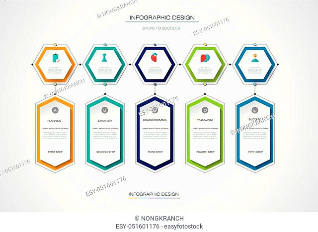 Vector infographics timeline design template with label design and icons, 5 options or steps. Can be used for content, business, process infographics
