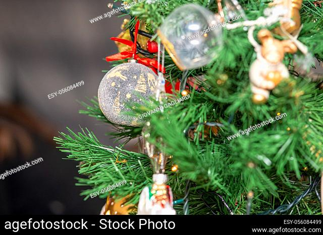 Decorated Christmas Tree at home. Holiday concept