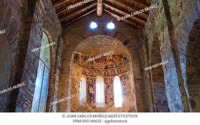 Medieval Fresco, San Vicenç Church, Estamariu Village, Alt Urgell, Lleida, Catalunya, Spain