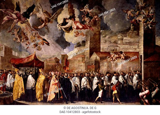 Procession to transfer the relics of the Holy Bishops to the Old Cathedral of St Peter, 1656, by Francesco Maffei (1605-1660), painting, Old Cathedral, Brescia