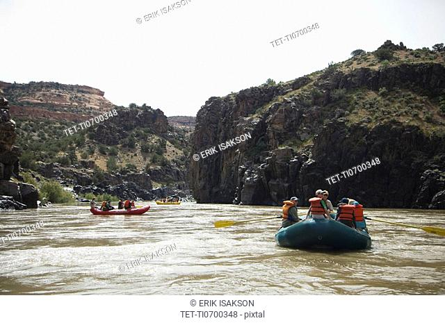 Groups of people river rafting