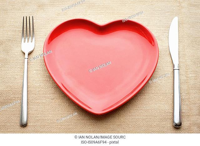 Empty heart shaped plate