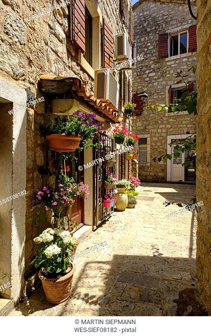 Montenegro, Budva, Old town, alley