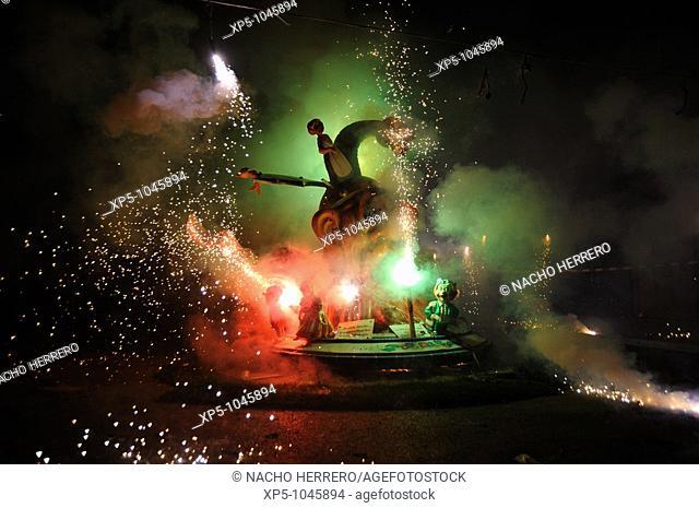 La Cremà (the burning), Fallas, Valencia, spain