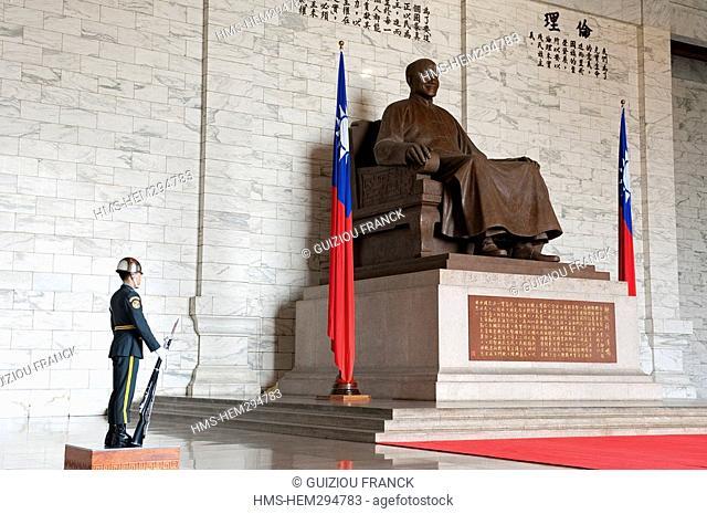 Taiwan, Taipei, National Chiang Kai-shek Memorial Hall erected in memory of Chang Kai-shek, former President of the Republic of China which has established his...